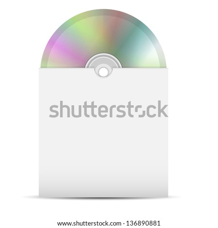 disk in a paper envelope on a white background.raster copy of vector file