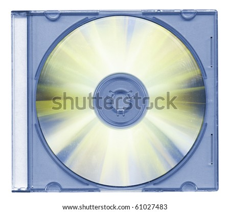 Disk in the case isolated on white background - stock photo