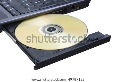 disk is in the laptop on white background