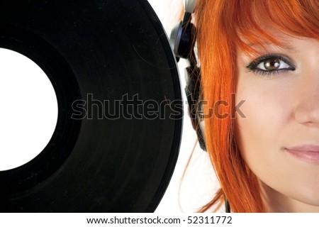 Disk jockey with a vinyl record - stock photo
