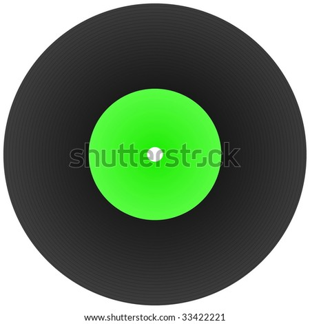 disk record for music with blank label isolated on white - stock photo