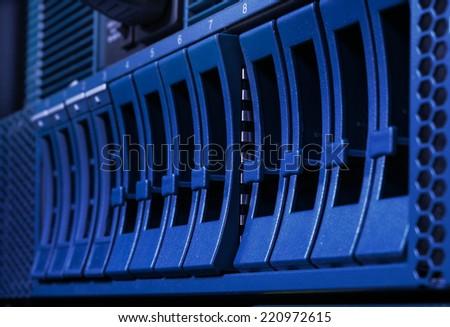 Disk storage in data center - stock photo