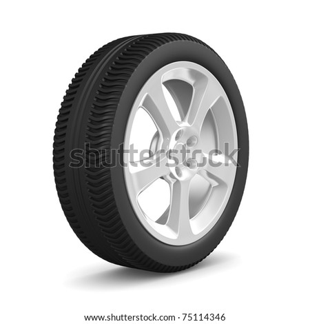 disk wheel on white background. Isolated 3D image
