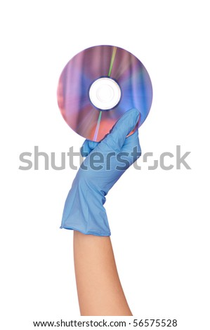 Disk with dangerous confidential audio and video about hacker programs and viruses in a hand of the inspector - stock photo