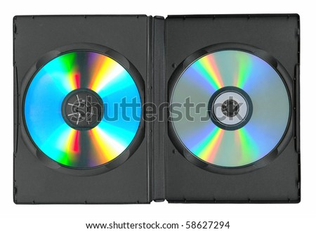 Disks in the case isolated on white - stock photo