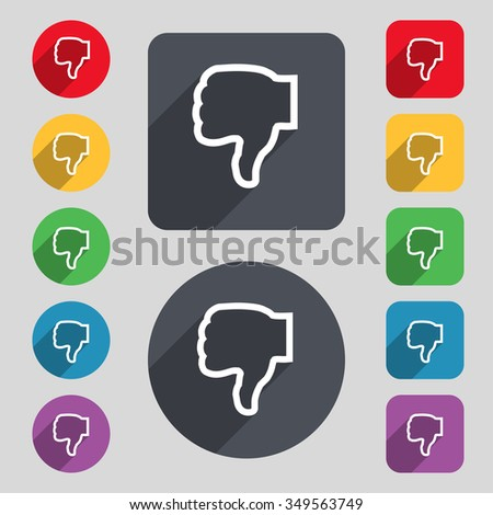 Dislike icon sign. A set of 12 colored buttons and a long shadow. Flat design. illustration - stock photo