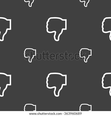 Dislike icon sign. Seamless pattern on a gray background. illustration - stock photo