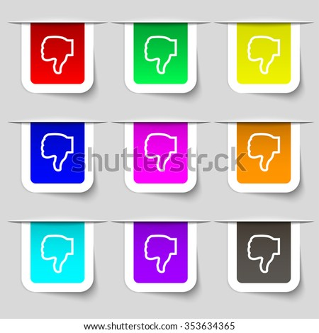 Dislike icon sign. Set of multicolored modern labels for your design. illustration - stock photo