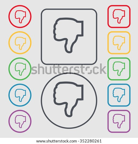 Dislike icon sign. symbol on the Round and square buttons with frame. illustration - stock photo