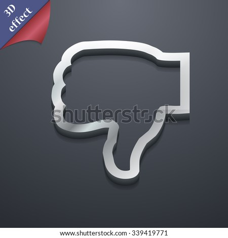 Dislike icon symbol. 3D style. Trendy, modern design with space for your text illustration. Rastrized copy - stock photo