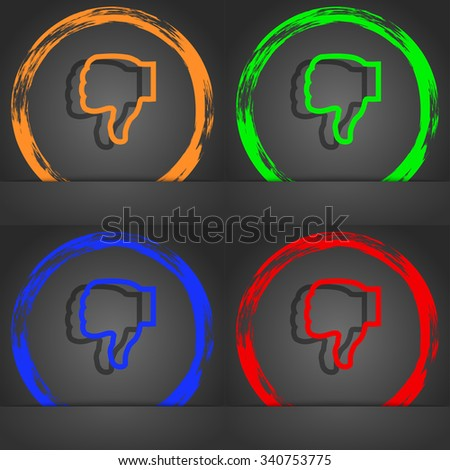 Dislike icon symbol. Fashionable modern style. In the orange, green, blue, green design. illustration - stock photo