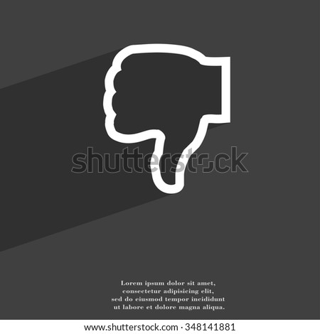 Dislike icon symbol Flat modern web design with long shadow and space for your text. illustration - stock photo