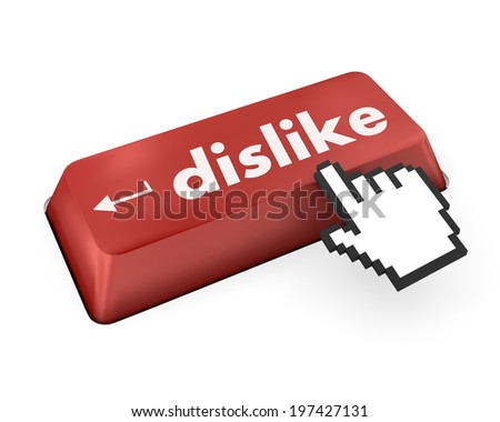 dislike key on keyboard for anti social media concepts facebook twitter - stock photo