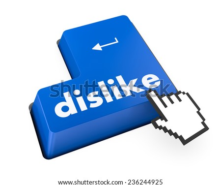 dislike key on keyboard for anti social media concepts , social media - stock photo