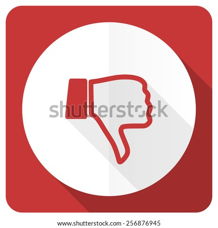 dislike red flat icon thumb down sign  - stock photo