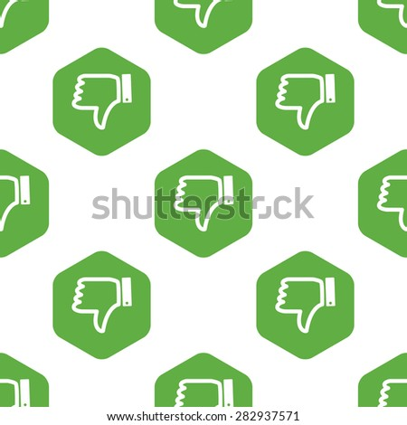 Dislike symbol in hexagon, repeated on white background - stock photo