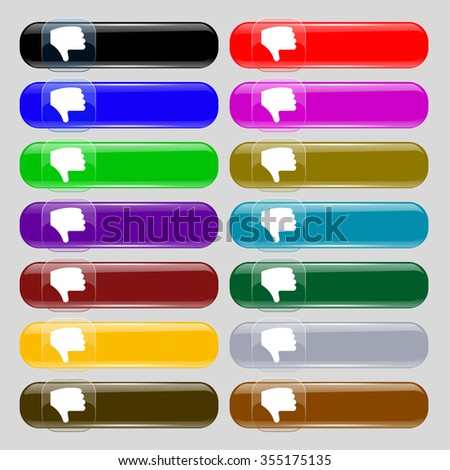 Dislike, Thumb down, Hand finger down icon sign. Set from fourteen multi-colored glass buttons with place for text. illustration - stock photo