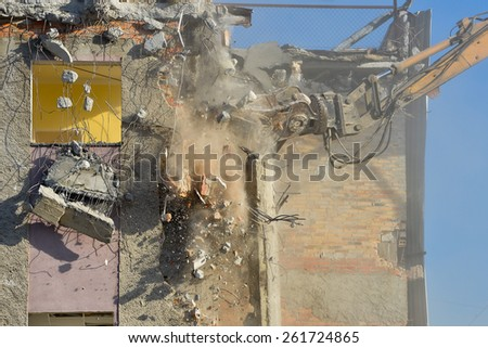 Dismantling of a building - stock photo