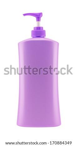 Dispenser Pump Cosmetic Or Hygiene Purple, Plastic Bottle Of Gel, Liquid Soap, Lotion, Cream, Shampoo - stock photo
