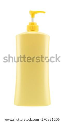 Dispenser Pump Cosmetic Or Hygiene Yellow,  Plastic Bottle Of Gel, Liquid Soap, Lotion, Cream, Shampoo - stock photo