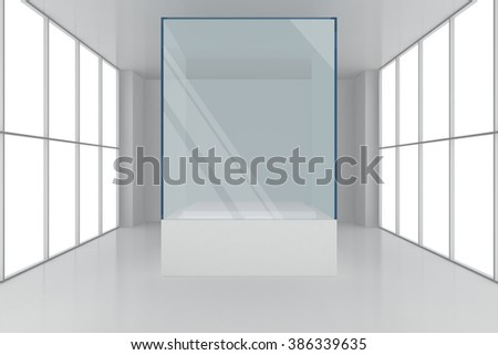 display case. 3d render showcase in white room with windows - stock photo