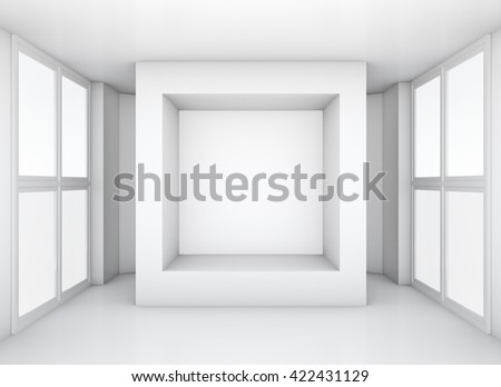 Display case. 3d rendering showcase in white room with windows - stock photo
