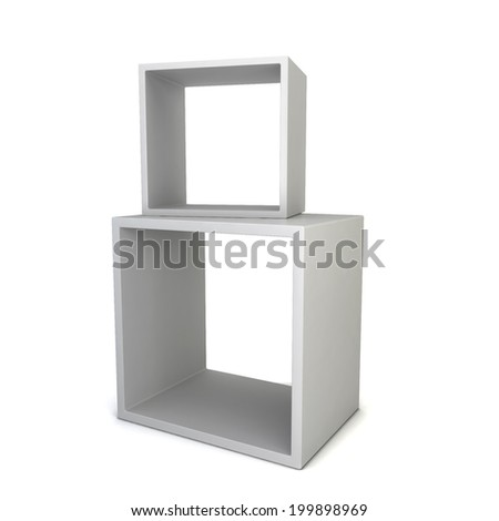 Display cubes. 3d illustration isolated on white background - stock photo