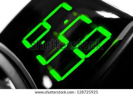 Display digital clock displays the time 6.59 - stock photo