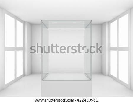 Display glass case. Showcase in white room with windows. Template for design. 3D illustration - stock photo