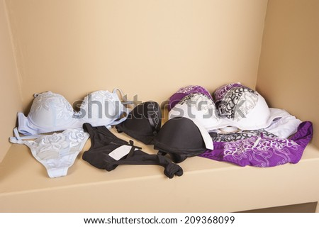 Display if luxury womens lingerie on display shelf in retail fashion shop - stock photo