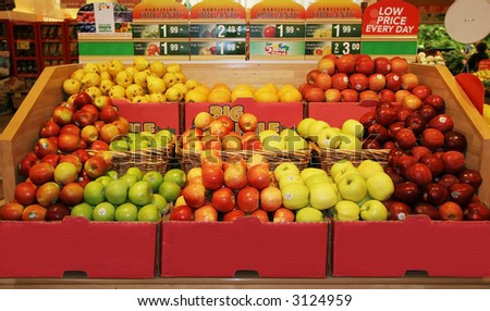 display of apples