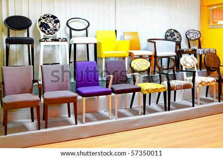 Display of chairs in retail space of furniture store