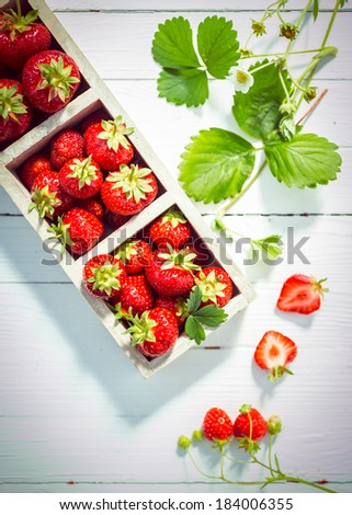 Display of delicious ripe red strawberries in wooden boxes on white painted boards with fresh green leaves and blossom and a halved berry showing the juicy flesh, view from above - stock photo