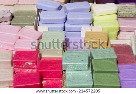 Display of Marseille Soaps in Many Different Fragrances - stock photo