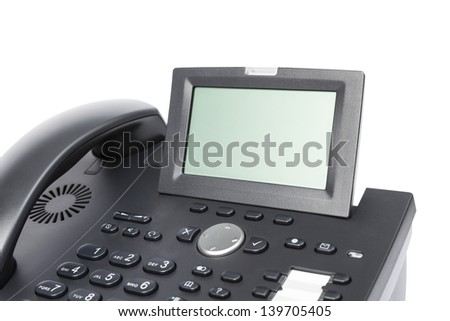 display of modern business phone isolated in white background. close up - stock photo