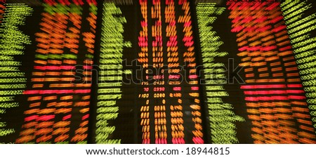 Display of share market prices at a share market exchange.