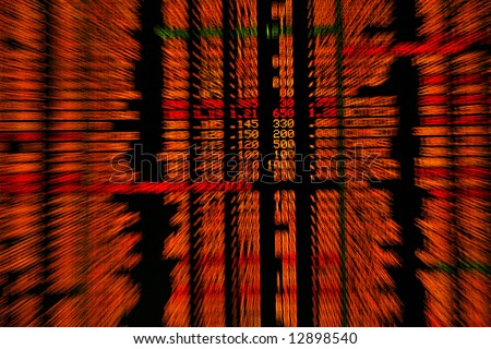 Display of share market prices in zoom effect. - stock photo