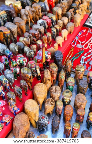 Display of souvenirs at Johari Bazaar in Jaipur, India. Jaipur is the capital and the biggest city of Rajasthan. - stock photo