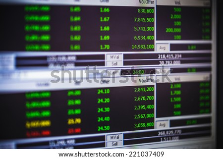 display of stock market on monitor - stock photo