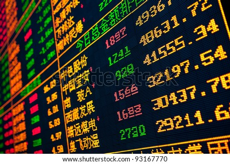 Stock Photo Pictures Display of Stock market quotes