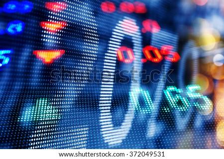 Display of Stock market quotes, double exposure - stock photo