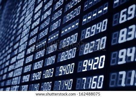 Display of Stock market quotes in china - stock photo