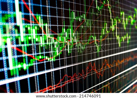 Display of stock market quotes price on screen live ticker. Stock exchange market business concept with selective focus effect. Stock foreign forex exchange graph background abstract.