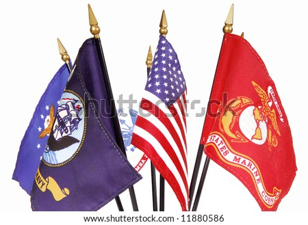 Display of U.S. Flag along with military service flags - stock photo