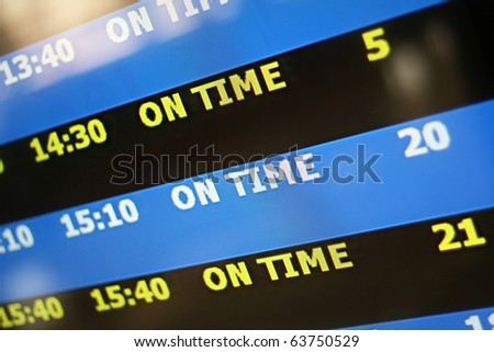 """Display panel showing flights with focus on """"on time"""" - stock photo"""