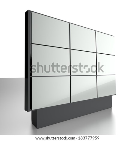 Display wall with blank screens - stock photo