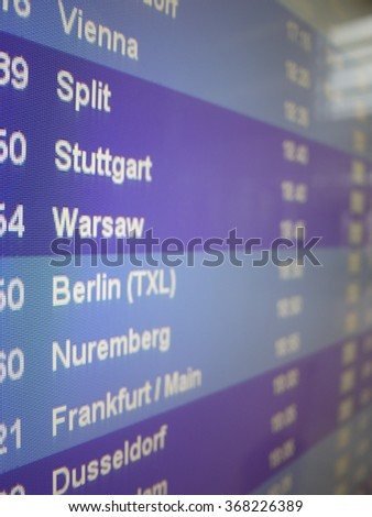 display which shows departures of planes on airport