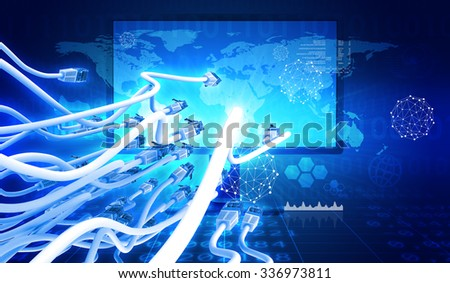 Display with cable on abstract colorful background with graph