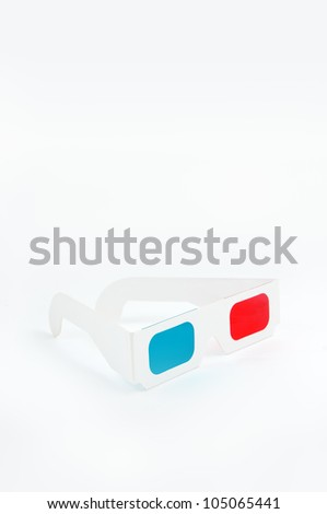 Disposable cheap cardboard 3D glasses with red and cyan lenses - stock photo