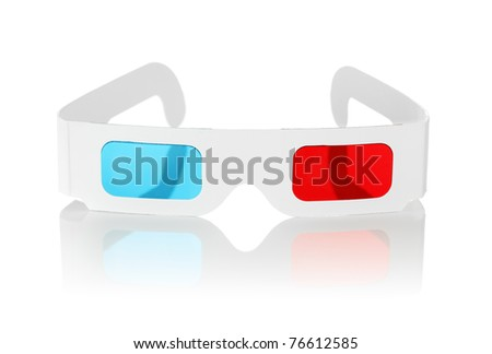 Disposable cheap cardboard 3D glasses with red and cyan lenses isolated on white. - stock photo